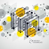 Abstract vector geometric 3D elements in futuristic style yellow. Template composition. Technical plan can be used in web design and as wallpaper or background vector illustration