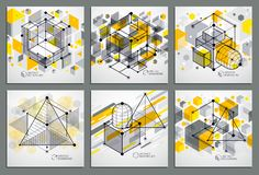 Abstract vector geometric 3D elements in futuristic style yellow. Template compositions set. Technical plan can be used in web design and as wallpaper or stock illustration