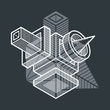 Abstract vector geometric form, 3D creative shape. Geometric artistic composition Stock Illustration