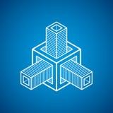 Abstract vector geometric form, 3D creative shape. Modern geometric art illustration Stock Photo
