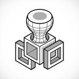 Abstract vector geometric form, 3D creative shape. Stock Photos