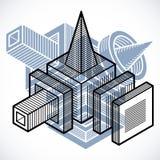 Abstract vector geometric form, 3D creative shape. Modern geometric art composition Vector Illustration