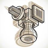 Abstract vector geometric form, 3D creative shape. Modern geometric art illustration Stock Illustration