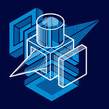 Abstract vector geometric form, 3D creative shape. Stock Photography