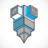 Abstract vector geometric form, 3D creative shape. Royalty Free Stock Images