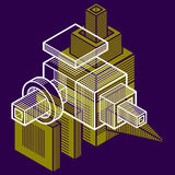 Abstract vector geometric form, 3D creative shape. Royalty Free Stock Photography