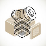 Abstract vector geometric form, 3D creative shape. Royalty Free Stock Image