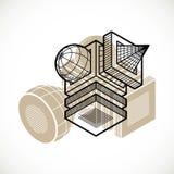 Abstract vector geometric form, 3D creative shape. Modern geometric art illustration Vector Illustration