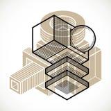 Abstract vector geometric form, 3D creative shape. Stock Photo