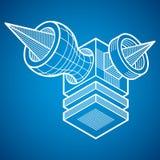 Abstract vector geometric form, 3D polygonal shape. Modern geometric art illustration Royalty Free Stock Photos