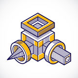 Abstract vector geometric form, 3D polygonal shape. Royalty Free Stock Photos