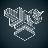 Abstract vector geometric form, 3D polygonal shape. Stock Photos
