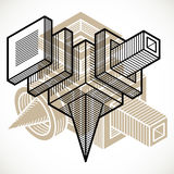 Abstract vector geometric form, 3D polygonal shape. Royalty Free Stock Photography