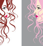 Abstract vector girl. Abstract girl with beautiful hairs Stock Photos
