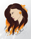 Abstract vector girl illustration. Young girl illustration. fashion portrait Royalty Free Stock Photography