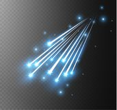 Abstract vector glowing magic star light effect from the neon blur of curved lines. Glittering stars dust trail from the. Side.flying comet on a transparent Stock Photo