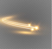 Abstract vector glowing magic star light effect from the neon blur of curved lines. Glittering stars dust trail from the side.flying comet on a transparent Stock Photo