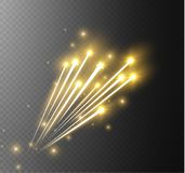Abstract vector glowing magic star light effect from the neon blur of curved lines. Glittering stars dust trail from the. Side.flying comet on a transparent Royalty Free Stock Photography