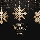 Abstract vector golden Christmas greeting card. With snowflakes vector illustration