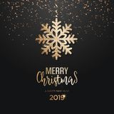 Abstract vector golden Christmas greeting card. With snowflake vector illustration