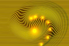 Abstract vector golden shaded wavy background with lighting and lining effect, vector illustration. Many uses for backgrounds,wallpapers, screen saver, book Stock Images