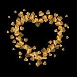 Abstract vector gouden hart Element voor kader Vector illustratie voor de Dag van Valentijnskaarten Het concept van de liefde Leu Royalty-vrije Stock Foto