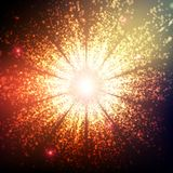 Abstract vector grayscale space background. Explosion of glowing particles. Christmas star. Futuristic technology style Stock Photos
