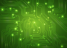 Abstract vector green background with high tech circuit board Royalty Free Stock Photo