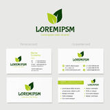 Abstract vector green leaves, logotype concept isolated with business card template. Key ideas is health, beauty Royalty Free Stock Photo