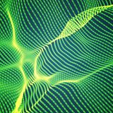 Abstract vector green wave mesh background. Point cloud array. Chaotic light waves. Technological cyberspace background. Royalty Free Stock Photography