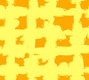 Abstract VECTOR grunge background template with yellow and orange crossing stripes. Seamless pattern. Stock Photography