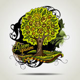 Abstract vector grunge decorative tree. Royalty Free Stock Photo