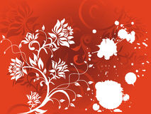 Abstract vector grunge flower on red background Stock Image