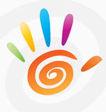 Palm high five 5 hand print vector spiral colored logo sign peace symbol icon graphic arts color abstract circle concept fingers Royalty Free Stock Photo