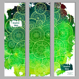 Abstract vector hand drawn doodle floral pattern card set. Green watercolor texture with white mandalas. Royalty Free Stock Photo