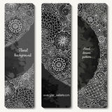 Abstract vector hand drawn doodle floral pattern card set.  Stock Images