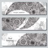 Abstract vector hand drawn doodle floral pattern card set. Series of image Template frame design for card Stock Photography