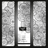 Abstract vector hand drawn doodle floral pattern card set. Series of image Template frame design for card. Black and white. Royalty Free Stock Photography