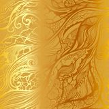 Abstract vector hand drawn doodle pattern. Gold background. Abstract vector hand drawn doodle pattern. Gold metallic background Stock Illustration