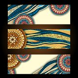 Abstract Vector Hand Drawn Ethnic Pattern Card Set Stock Photos