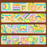 Abstract vector hand drawn ethnic pattern card set. Series of image Template frame design for card. Royalty Free Stock Images