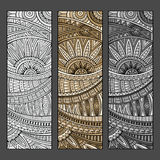 Abstract vector hand drawn ethnic pattern set. Royalty Free Stock Images