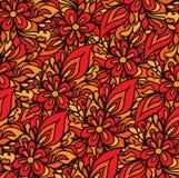 Abstract vector hand-drawn golvenpatroon, golvende bloemenachtergrond Stock Foto's