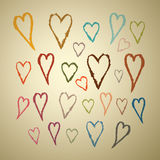 Abstract Vector Hand Drawn Hearts Royalty Free Stock Photography