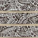 Abstract vector hand drawn vintage ethnic banner Stock Images