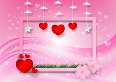 Abstract vector with heart shape and frame on pink background, valentine`s day concept.  Vector Illustration