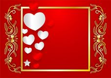 Abstract vector heart shape and golden frame with copy space on red background, valentines day concept.  Royalty Free Illustration