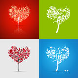 Abstract Vector Heart-Shaped Tree Set. On Green, Red, White and Blue Background Royalty Free Stock Images