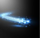 Abstract vector het gloeien magisch ster lichteffect van het neononduidelijke beeld van gebogen Stock Afbeelding
