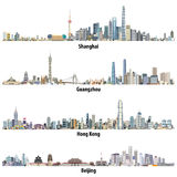 Abstract vector high detailed illustrations of Shanghai, Hong Kong, Guangzhou and Beijing skylines. Abstract high detailed illustrations of Shanghai, Hong Kong stock illustration